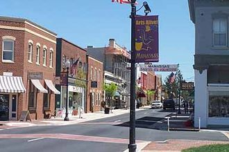 Manassas, Virginia - View of downtown Manassas looking east on Center Street.