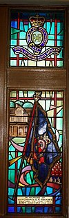 Col E G Brooks DSO OBE CD 1918-1964 staff adjutant 1948-1950 stainglass Currie Hall.JPG