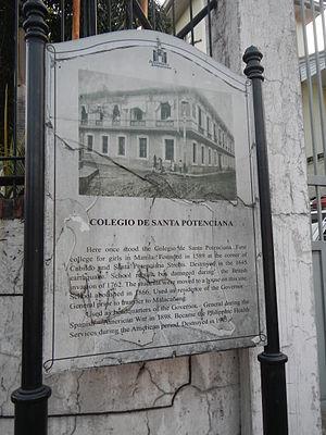 Real Colegio de Santa Potenciana - Historical Marker of Real Colegio de Santa Potenciana