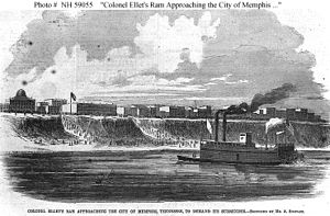 Mississippi Marine Brigade - Col. Ellet's ram USS Lioness approaching the city of Memphis, Tennessee, to demand its surrender