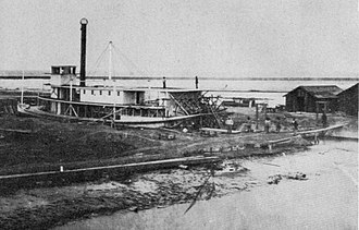 Port Isabel, Sonora - Sternwheel steamboat Colorado No. 2, built 1862, in the tidal dry dock at the former settlement of Port Isabel.