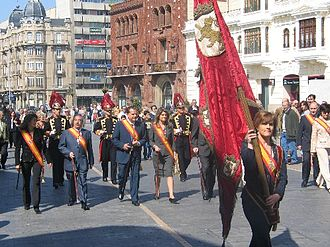 """Heraldry of León - The Royal Standard of León preceding to the Council of the City, at the procession to Royal Collegiate of San Isidoro of the """"Forum or Offer"""" Ceremony"""