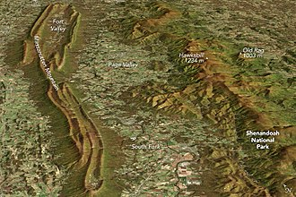 Massanutten Mountain - Image displaying the topographical differences between two roughly parallel ridges along Virginia's western border: one is the backbone of Shenandoah National Park, and the other is part of George Washington National Forest, both rise above the Shenandoah Valley's rolling lowlands.