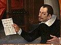 Cosimo Daddi, storie di maria e di cristo, 1618, 05 cristo tra i dottoi 2 autoritratto con cartiglio.jpg