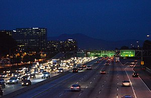 Interstate 405 (California) - The Bristol exit near South Coast Plaza and Segerstrom Center for the Arts, with Saddleback in the background