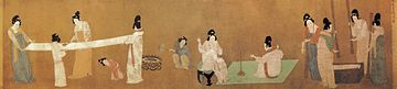 Court Ladies Preparing Newly Woven Silk (捣练图) by Emperor Huizong (1082–1135).jpg