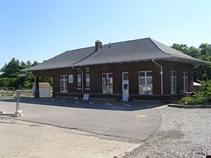Crawfordsville, Indiana - Amtrak Station located behind the historic station, now a meeting facility.