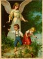 Cromolitogravura do anjinho da guarda com duas crianças, aproximadamente de 1919.png