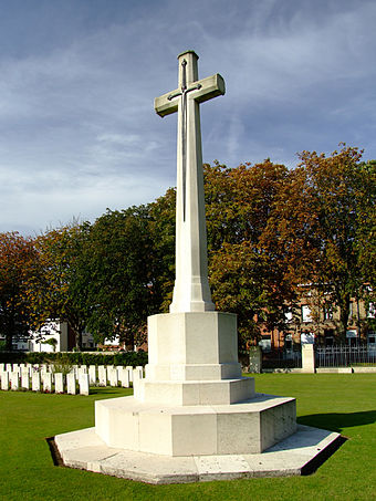 Sir Reginald Blomfield's widely used Cross of Sacrifice Cross of Sacrifice, Ypres Reservoir cemetery.jpg