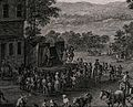 Crowds of people are gathered for a fete, a stage has been Wellcome V0040564.jpg