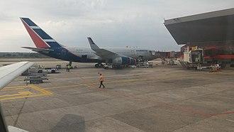 José Martí International Airport - A Cubana Ilyushin Il-96-300 boarding at Jose Marti International Airport.