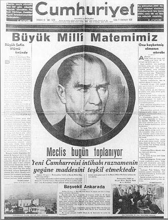 Cumhuriyet - Image: Cumhuriyet gazetesi (1938)
