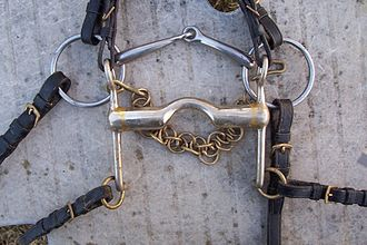 Bit (horse) - The bits of a double bridle, showing both a type of snaffle bit called a bradoon and a curb bit.