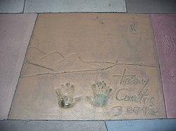 Curtis' handprints at the Disney's Hollywood Studios theme park.