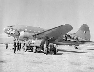 "Curtiss C-46 Commando - ""St. Louis"", the BOAC CW-20A at Gibraltar, 1941–42. Was previously C-55 with Curtiss and USAAC, after conversion from twin-tail CW-20T"