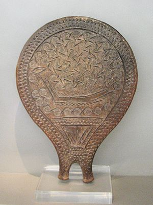 Frying pans - Frying-pan with incised decoration of a ship.  Early Cycladic II, Chalandriani, Syros (Keros-Syros culture, 2800-2300 BC)