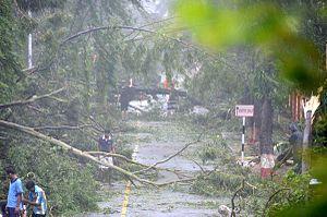 Cyclone Hudhud - Roadway destruction in Visakhapatnam