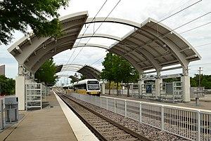 Market Center station - DART Green Line train at Market Center station