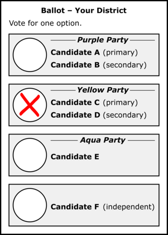 Dual-member proportional representation - Possible layout of a ballot under DMP