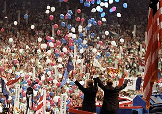 1980 Democratic National Convention - Carter and Mondale stand together at the end of the convention
