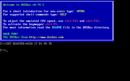 DOSBox emulates the command-line interface of DOS. DOSBox screenshot.png