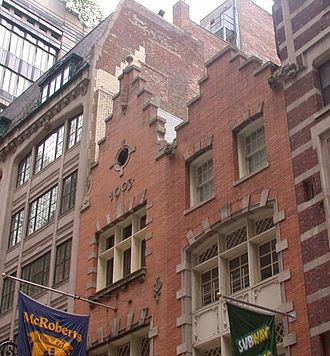 Dutch Colonial Revival architecture - Stepped gables on early 20th-century Dutch Revival buildings on S William Street in Lower Manhattan recall the Dutch origins of the city.