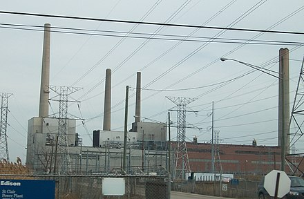St. Clair Power Plant, a large coal-fired generating station in Michigan, United States DTE St Clair.jpg