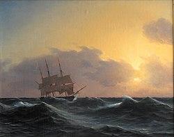 Carl Dahl: Fregat i en storm med rebede undersejl