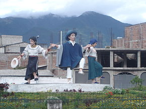 Dancers traditional costume Otavalo.JPG