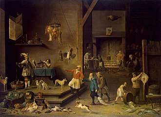 Walpole collection - The Kitchen by David Teniers II, now in the Hermitage Museum