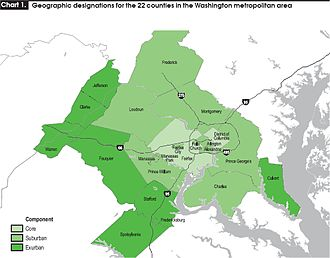 Washington metropolitan area - Map highlighting labor patterns of regional counties