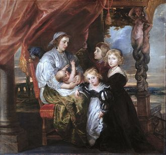 Basic copper carbonate - Deborah Kip, wife of Balthasar Gerbier, and her children (Peter Paul Rubens, 1629-1630)