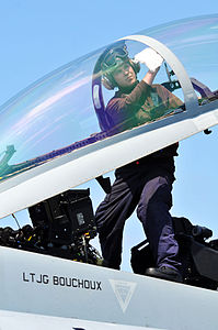Defense.gov News Photo 110413-N-1004S-222 - Airman Steven Gardner assigned to Strike Fighter Squadron 154 cleans the cockpit window of an F A-18F Super Hornet aboard the aircraft carrier.jpg