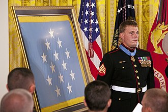 Dakota Meyer - Meyer stands at attention after receiving the Medal of Honor from U.S. President Barack Obama during the Medal of Honor presentation ceremony in the East Room of the White House, Washington, D.C., 15 September 2011.