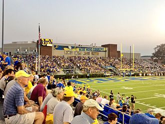 Delaware Stadium - The student section of Delaware Stadium, known as the Cockpit, in reference to the Fightin' Blue Hens mascot.
