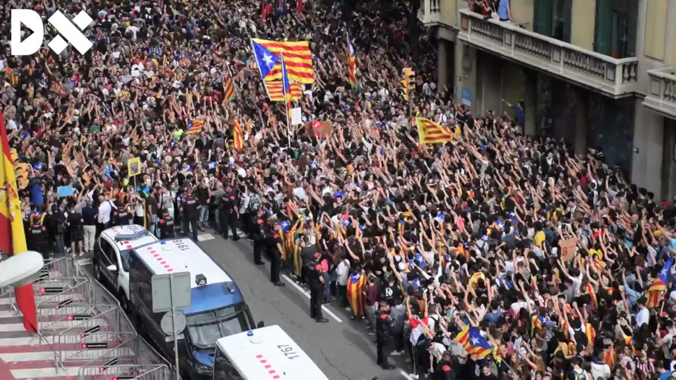 Demonstration in front of the headquarters of the Spanish National Police in Barcelona