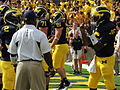 Denard Robinson gestures to Vincent Smith.jpg