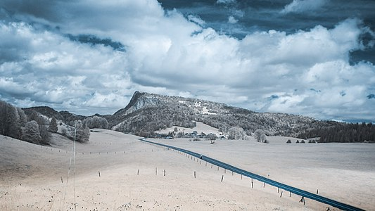 Infrared photography of the Dent de Vaulion taken in the Vallée de Joux.