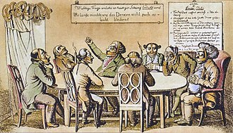 "Carlsbad Decrees - A contemporary lithograph mocking the new restrictions on the press and free expression imposed by the Carlsbad Decrees. The sign on the wall behind the table reads: ""Important question to be considered in today's meeting: 'How long will we be allowed to think?'"" The sign in the upper-right corner lists the rules of the Thinkers' Club: ""I. The president opens the meeting at precisely 8 a.m./ II. The first rule of a learned society is silence./ III. So that no member, having made full use of his tongue, will end up in prison, muzzles will be distributed upon entry./ IV. The object of discussion, which through mature reflection should be thoroughly discussed at each meeting, will be clearly written in capital letters on a board."