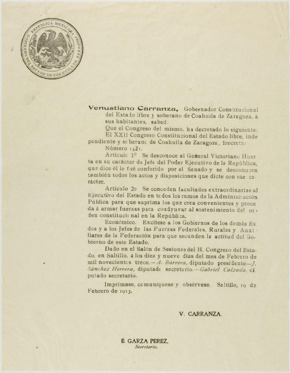 Desconocimiento de Victoriano Huerta como Jefe del Poder Ejecutivo de la República