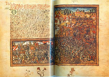Depiction of the Battle of Nancy in the Lucerne Chronicle by Diebold Schilling the Elder.  J.