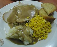 Dinner at Friendlys Restaurant Hot open turkey sandwich.jpg