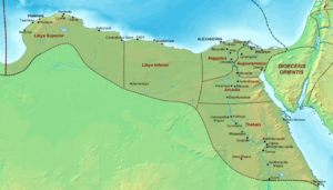 Thebaid - Map of the late Roman Diocese of Egypt, with Thebais in the south.