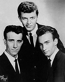 The Belmonts in 1960. (L-to-R) Carlo Mastrangelo, Dion DiMucci, Fred Milano (not shown: Angelo D'Aleo, who was serving in the U.S. Armed Forces when this photo was taken).