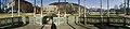 Distorted panorama photo from inside Musikkpaviljongen in Byparken in central Bergen, Norway 2018-03-15. View towards Olav Kyrres gate, Telegrafbygningen, Fløien, Ulriken Christies gate, Lille Lungegårdsvann, KODE art museum, etc.jpg