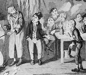 Artful Dodger - George Cruikshank's original engraving of the Artful Dodger (centre), here introducing Oliver (right) to Fagin (left). It can be argued that Cruikshank originated the Dodger's trademark top hat -- Dickens never specifically describes the hat.