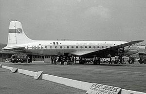 Transports Aériens Intercontinentaux - TAI Douglas DC-6B at Paris Orly Airport in 1957