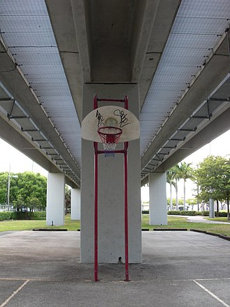 Douglas Road station - Basketball court beneath station trackage