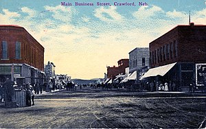 Crawford, Nebraska - C. 1910 depiction of Second Street (Crawford's main business thoroughfare) from Main Street.