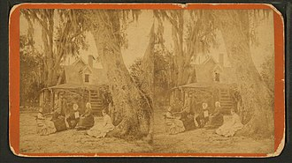 Harriet Beecher Stowe - Stereoscope of Dr. Stowe and Harriet Beecher Stowe at the house in Mandarin, Florida